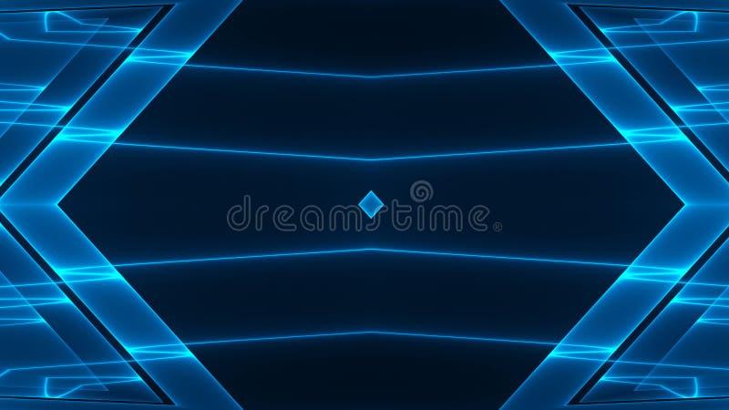 Abstracte futuristische achtergrond sc.i-FI met blauw gekleurd het gloeien geometrisch ontwerp royalty-vrije illustratie