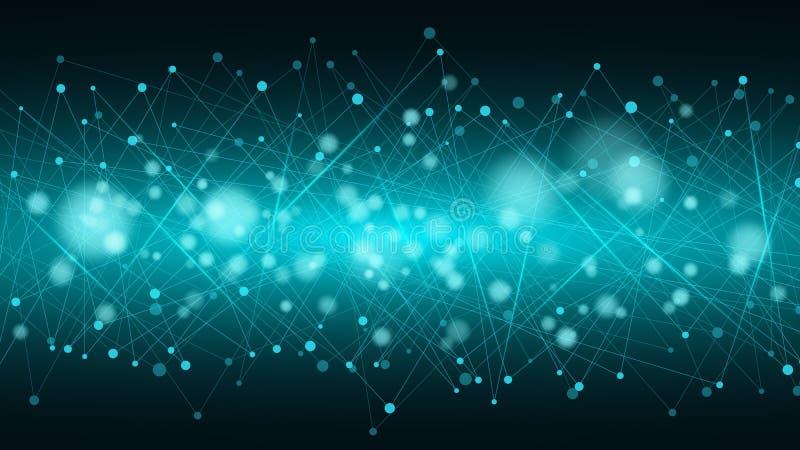 Abstracte futuristische achtergrond van verbonden lijnen en punten De gloeiende neonlijnen zijn blauw Beweging van elementen Vlec royalty-vrije illustratie