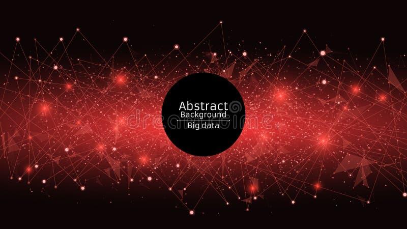Abstracte Futuristische Achtergrond Verbinding van driehoeken en punten Moderne technologieën in ontwerp Een het gloeien Web van  royalty-vrije stock afbeeldingen