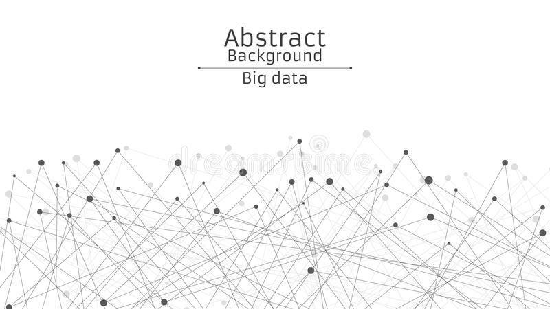 Abstracte Futuristische Achtergrond Verbinding van lijnen en punten in zwarte Witte achtergrond Zwart, genetwerkt Web Hi-tech en  stock illustratie