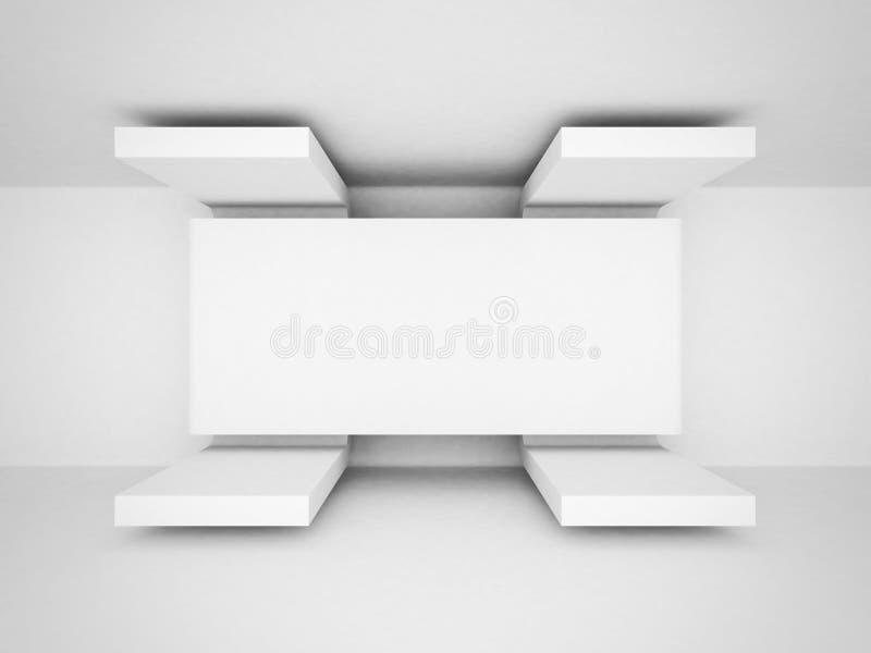 Abstracte Futuristische Architectuur Witte Schone Achtergrond stock illustratie