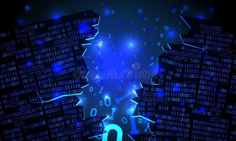 Abstracte futuristische cyberspace binnendrong in een beveiligd computersysteem serie van binaire gegevens, gebroken dalende bina vector illustratie