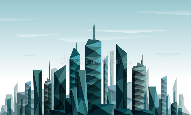 Abstracte futuristische die Stad met driehoek wordt gemaakt en stock illustratie