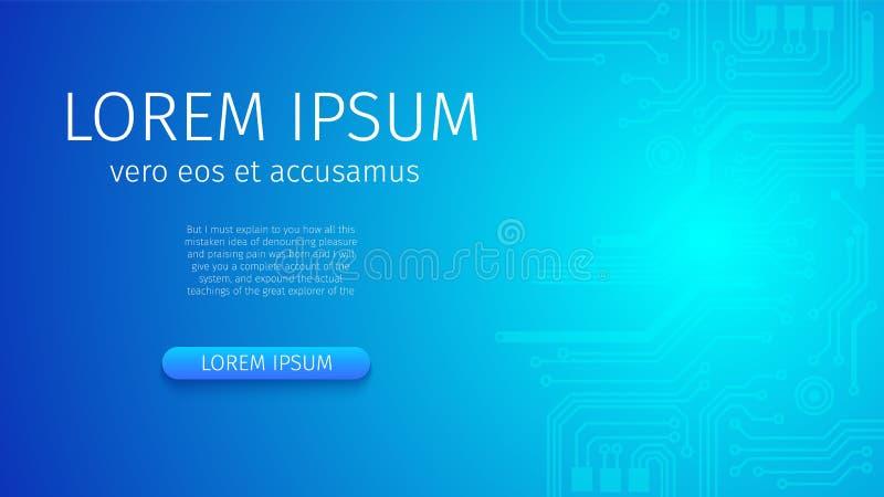 Abstracte Futuristische Digitale Blauwe Neonachtergrond royalty-vrije illustratie
