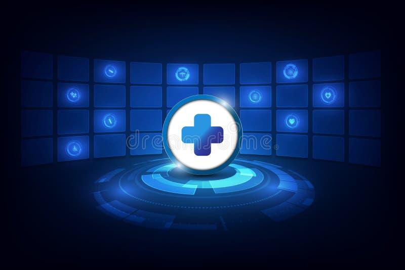 Abstracte futuristische het ontwerpachtergrond van technologie van het gezondheidszorgconcept royalty-vrije illustratie