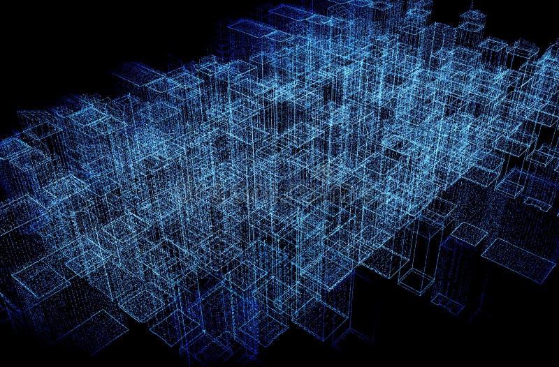 Abstracte futuristische illustratie van veelhoekige oppervlaktestructuur Lage polyvorm met het verbinden van punten en lijnen op  royalty-vrije illustratie