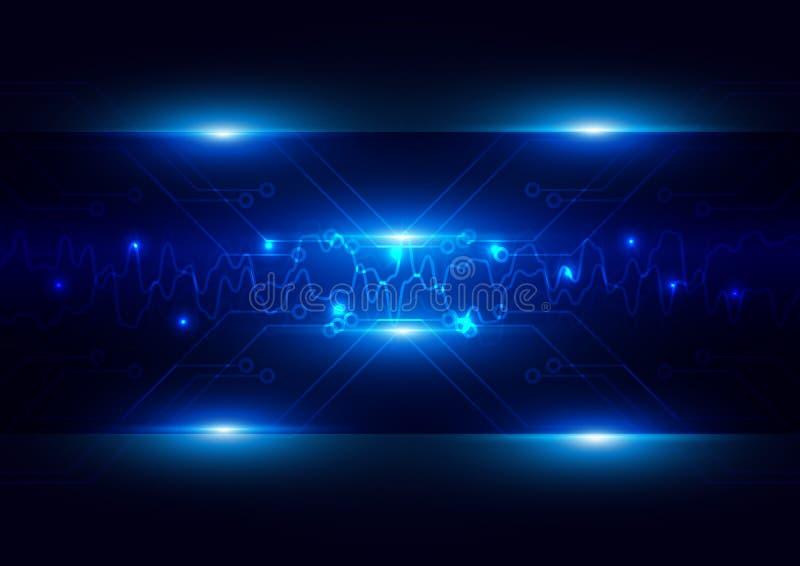 Abstracte futuristische kring met verlichtingstechnologie donkerblauw c vector illustratie