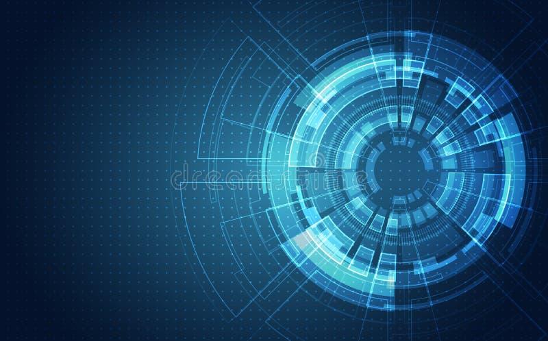 Abstracte futuristische kringsraad, digitaal de technologieconcept van de Illustratie hoog computer, Vectorachtergrond vector illustratie