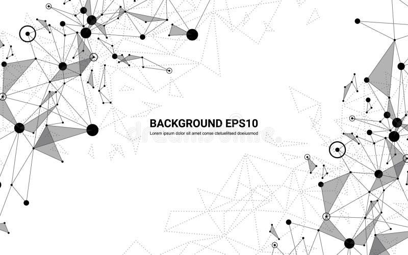 Abstracte futuristische moleculelijn en veelhoek witte achtergrond Digitaal de technologieconcept van de netwerkverbinding vector illustratie