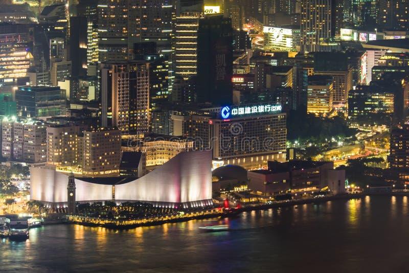 Abstracte futuristische nachtcityscape De mening van Hongkong stock afbeeldingen