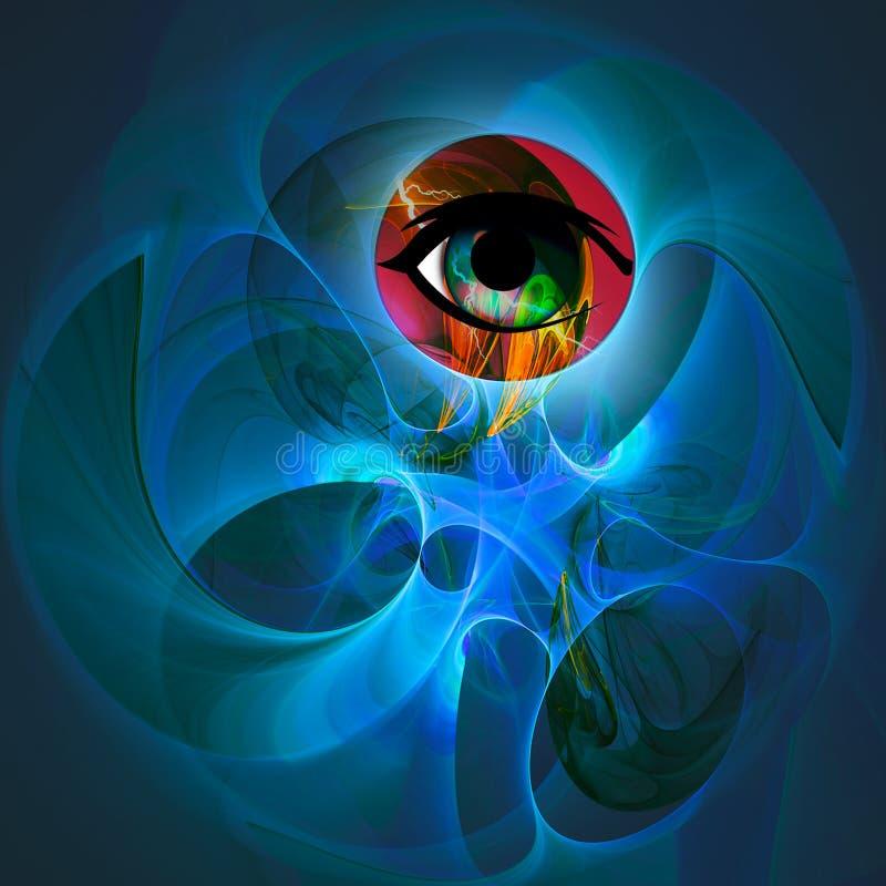 Abstracte Futuristische Purpere Oogillustratie stock illustratie