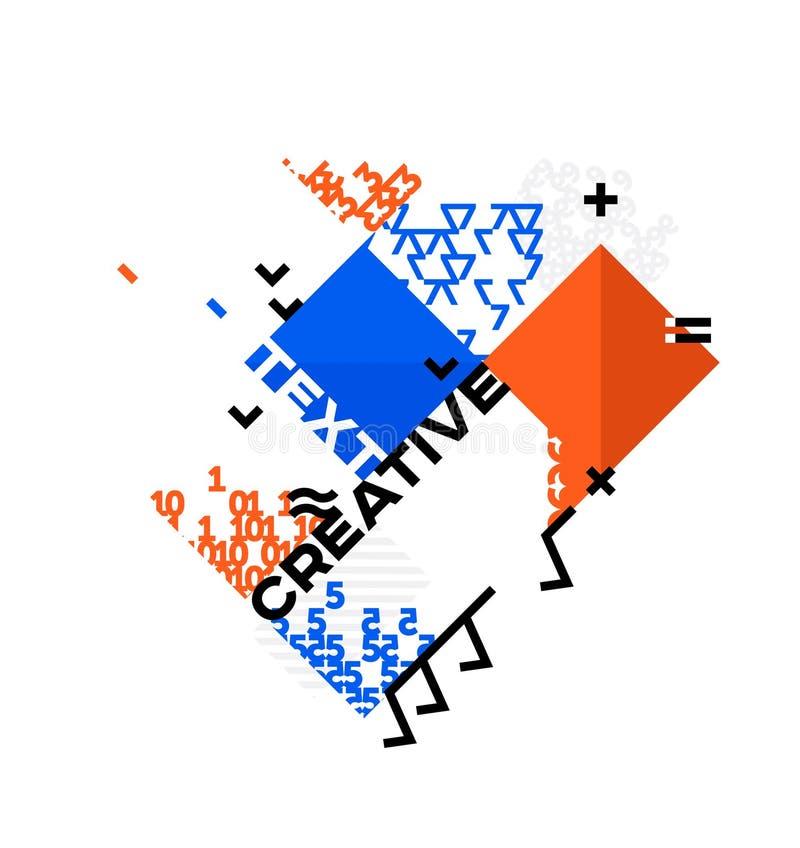 Abstracte futuristische samenstelling Geometrische cijfers met tekst Kan voor Webbanner, druk, bedrijfspresentatie worden gebruik royalty-vrije illustratie