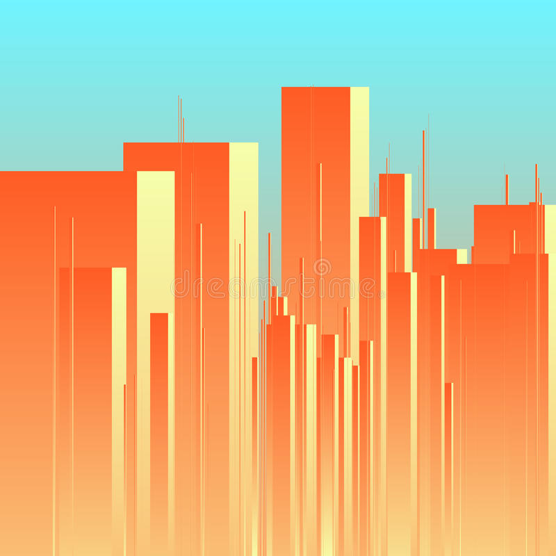 Abstracte futuristische stads vectorachtergrond Mening van stadscentrum met torens royalty-vrije illustratie