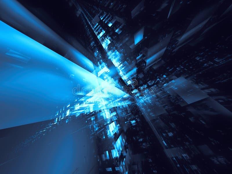 Abstracte futuristische straat of tunnel - digitaal gegenereerde 3d illustratie vector illustratie