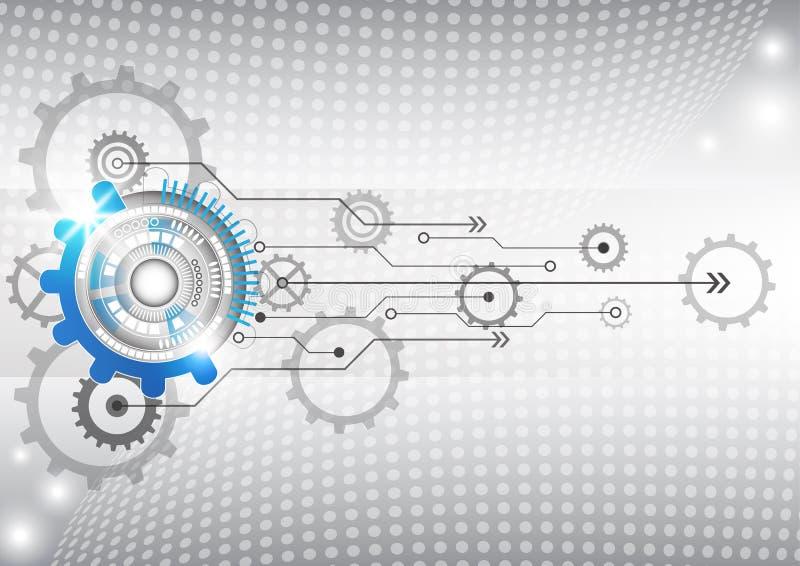 Abstracte futuristische van de bedrijfs krings hoge computertechnologie vectorillustratie als achtergrond stock illustratie