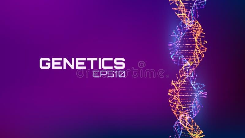 Abstracte fututristic DNA-schroefstructuur De wetenschapsachtergrond van de geneticabiologie Toekomstige DNA-technologie stock illustratie
