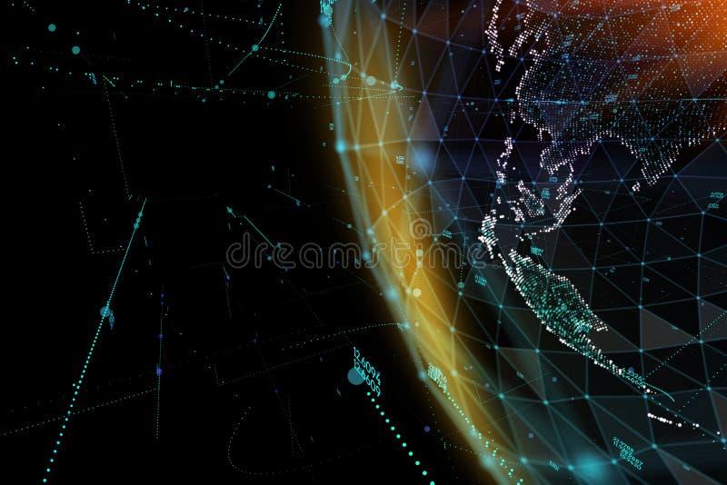 Abstracte gebiedvorm van gloeiende globale mededeling De globale visualisatie van de Netwerkverbinding Futuristische aardebol stock illustratie