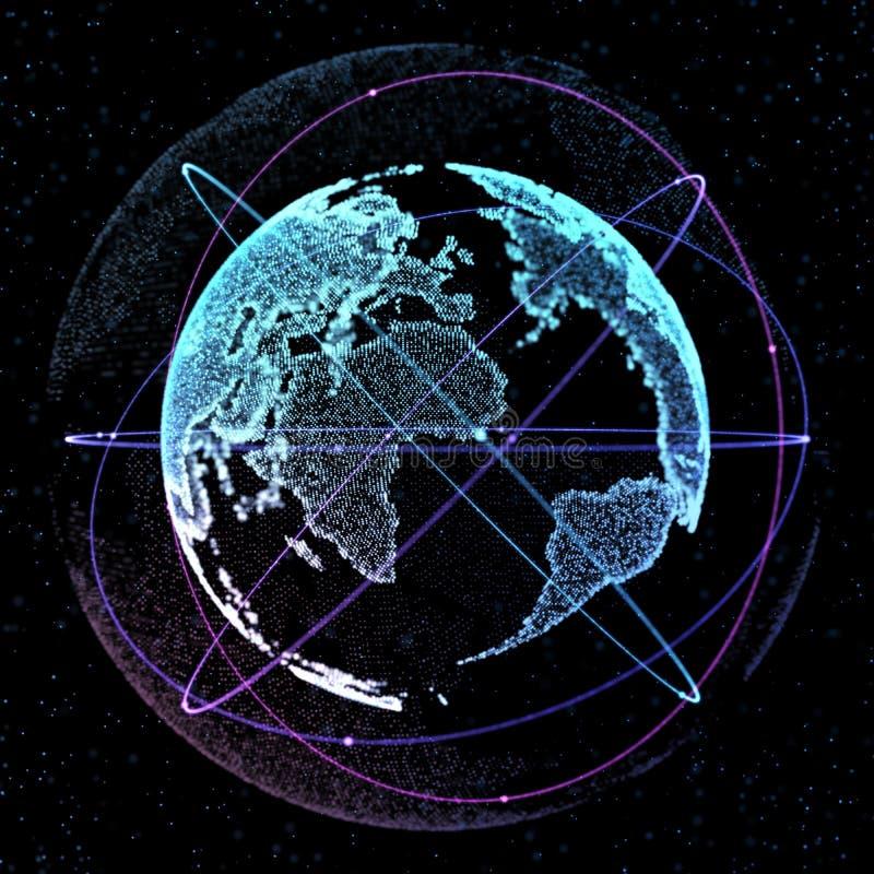 Abstracte gebiedvorm van het gloeien cirkels globale communicatie banen De globale visualisatie van de Netwerkverbinding royalty-vrije illustratie