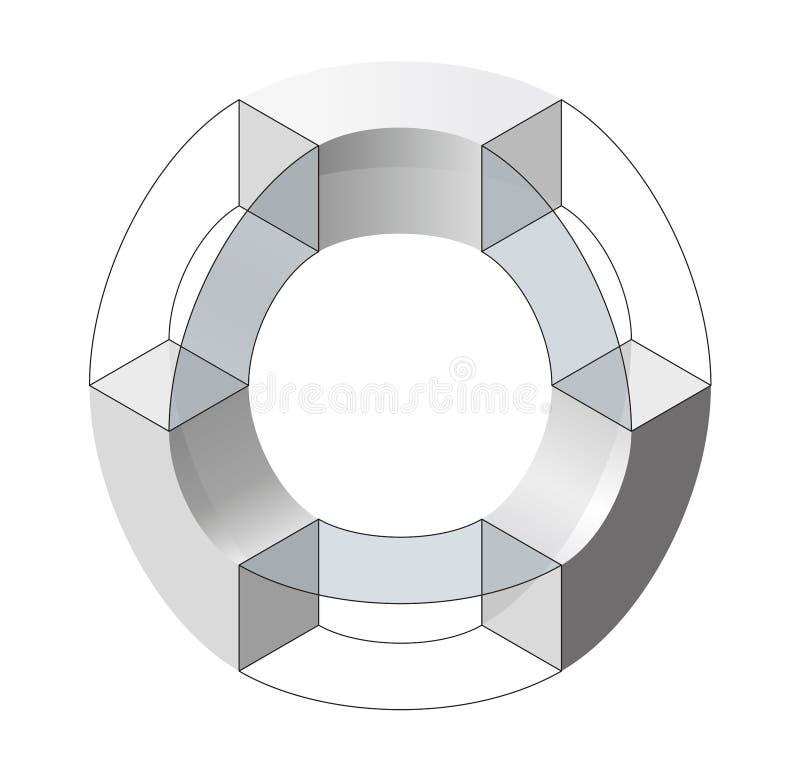 Abstracte gebogen vectorvorm Isometrisch merk van wetenschappelijke instelling, onderzoekscentrum, biologische laboratoria royalty-vrije illustratie