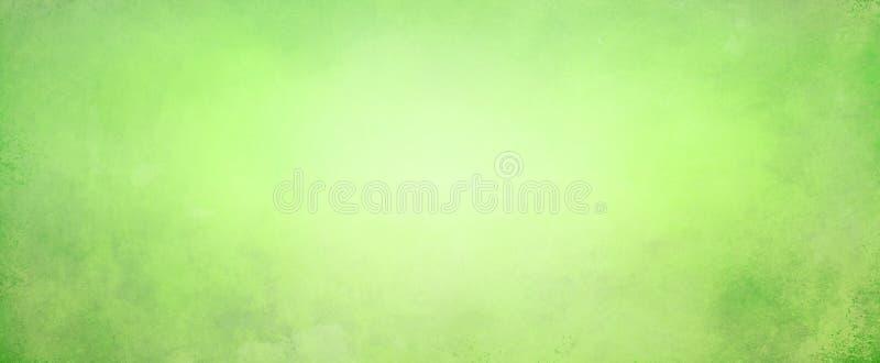 Abstracte geelgroene achtergrond met zacht helder centrum die met donkergroene grens met oude uitstekende grungetextuur gloeien vector illustratie