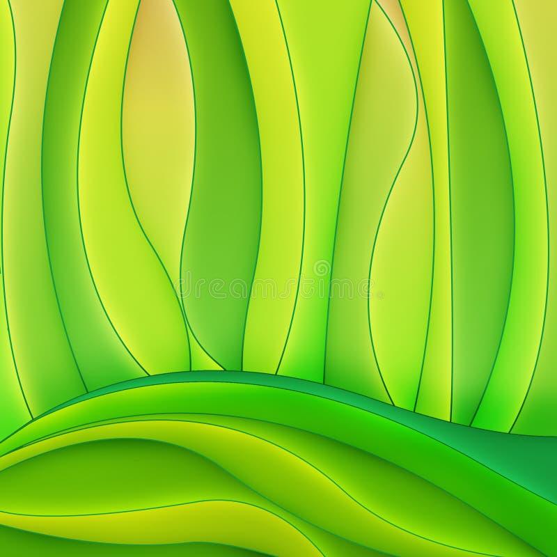 Abstracte geelgroene krommen stock illustratie