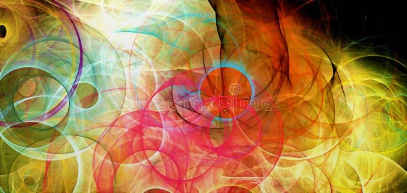 Abstracte gekleurd psychedelisch als achtergrond penciled geproduceerde fractal cirkels en beweegt Digitale grafische ontwerp gra royalty-vrije illustratie