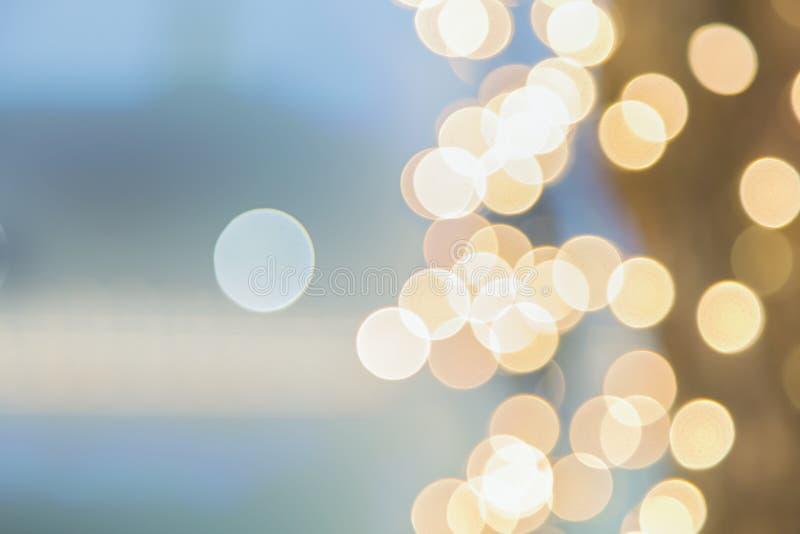 Abstracte gele blauwe lichte Boken-achtergrond met exemplaar spaec royalty-vrije stock afbeelding