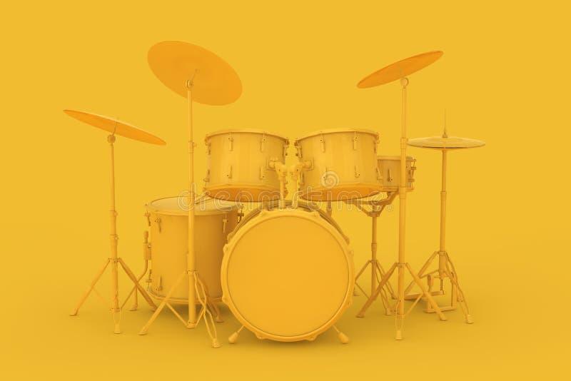 Abstracte Gele Clay Style Professional Rock Black-Trommeluitrusting 3d stock illustratie