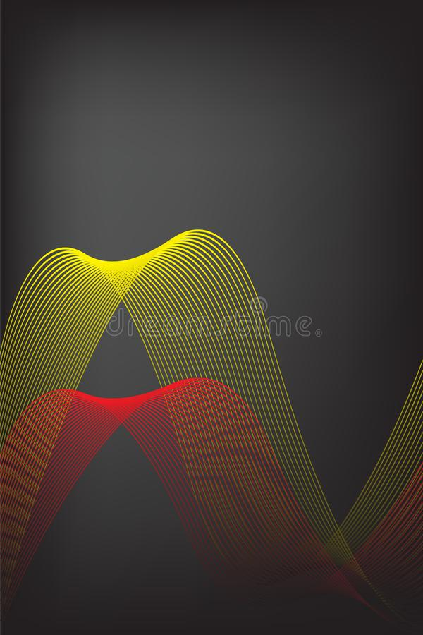 Abstracte gele en rode lijn met zwarte onduidelijk beeldachtergrond Brochureontwerp, voor de vectorafbeeldingenillustratie van he royalty-vrije illustratie