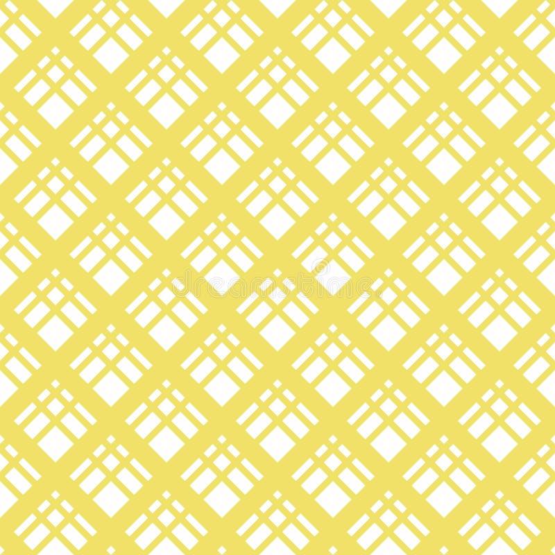 Abstracte gele en witte geometrische textuur met diagonale dwarslijnen, ruiten, netwerk, rooster, grill vector illustratie