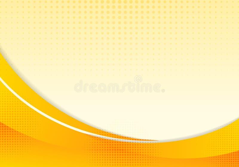 Abstracte gele golven of het gebogen professionele malplaatje van de bedrijfsontwerplay-out of collectieve het ontwerpachtergrond stock illustratie