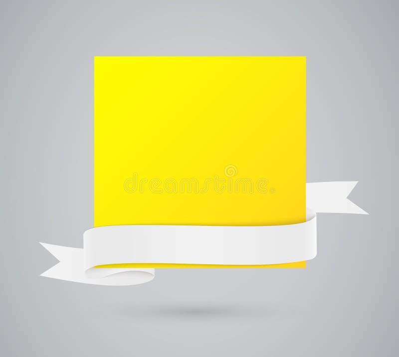 Abstracte gele kaart met lint stock illustratie