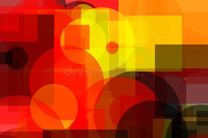 Abstracte gele rode grijze vierkanten en cirkelsillustratieachtergrond royalty-vrije illustratie