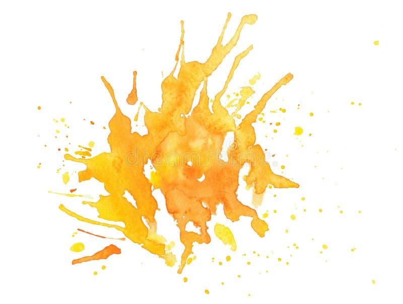 Abstracte gele waterverf op witte achtergrond royalty-vrije stock afbeeldingen