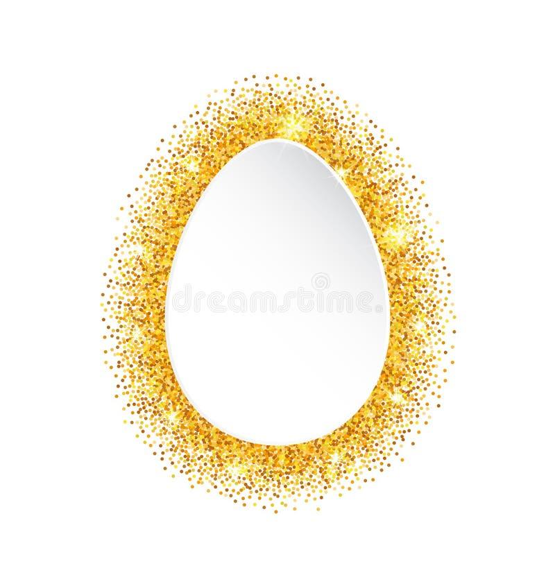 Abstracte Gelukkige Gouden Pasen schittert Ei stock illustratie