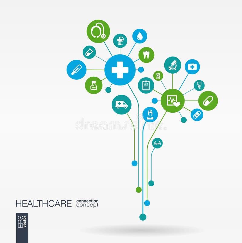 Abstracte geneeskundeachtergrond Het concept van de de groeibloem royalty-vrije illustratie