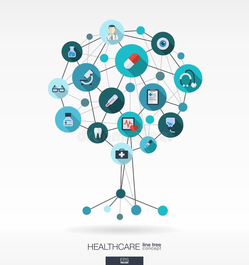 Abstracte geneeskundeachtergrond Het concept van de de groeiboom vector illustratie