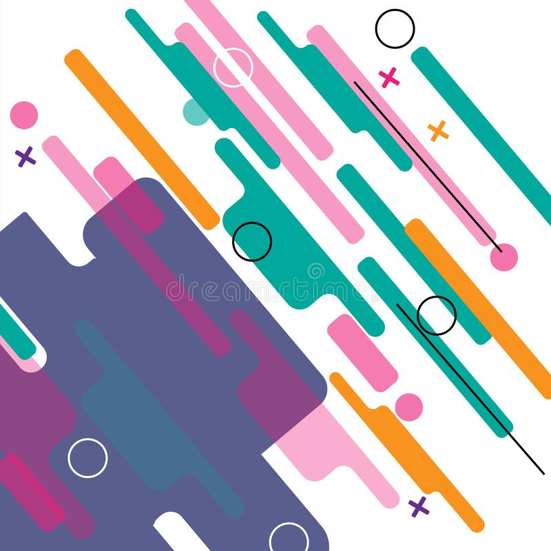 Abstracte geometrisch Kleurrijk beeld Moderne die stijlabstractie met samenstelling van diverse rond gemaakte vormen in kleur wor vector illustratie