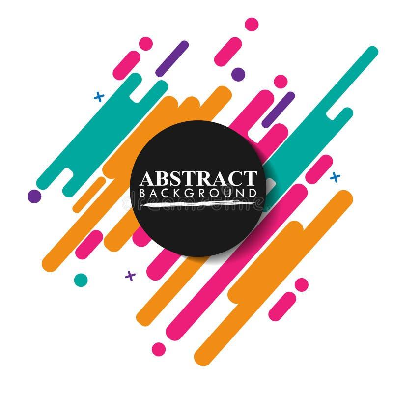 Abstracte geometrisch Kleurrijk beeld Moderne die stijlabstractie met samenstelling van diverse rond gemaakte vormen in kleur wor stock illustratie