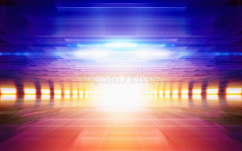 Abstracte geometrische achtergrond, helder het gloeien oranje blauw licht, stock afbeeldingen