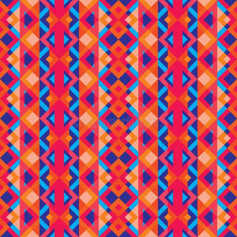 Abstracte geometrische achtergrond - het naadloze vectorpatroon in rood, knort en blauwe kleuren Etnische bohostijl De structuur  royalty-vrije illustratie
