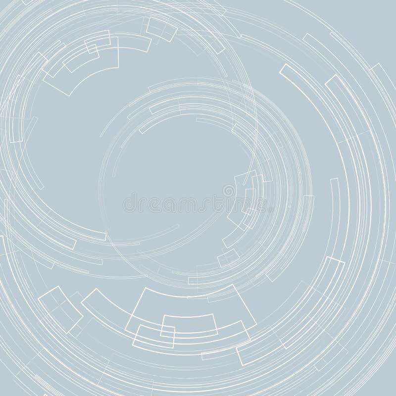 Abstracte geometrische achtergrond met concentrische cirkels Lichte cirkels op een grijze achtergrond grafische decoratie geometr vector illustratie
