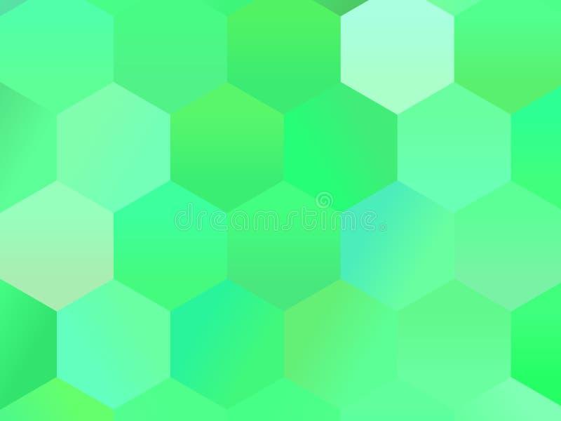 Abstracte geometrische achtergrond met zeshoeken Groen Het patroon van de kleurengradiënt, Vectorillustratie vector illustratie