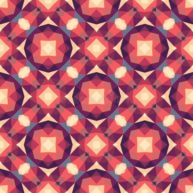 Abstracte geometrische achtergrond - naadloos vectorpatroon in rode en roze kleuren Etnische bohostijl De structuur van het mozaï royalty-vrije illustratie