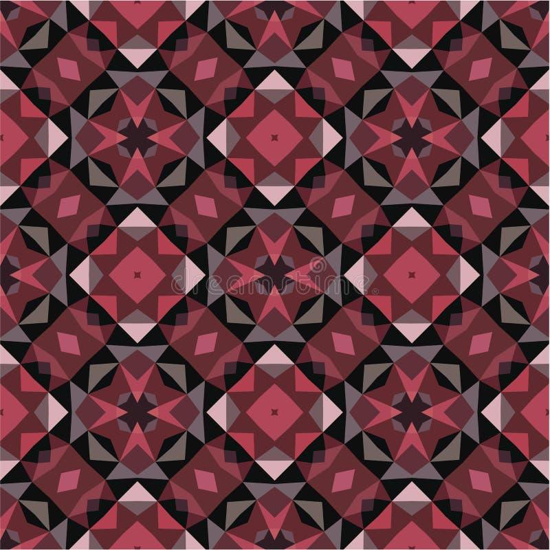 Abstracte geometrische achtergrond - naadloos vectorpatroon in roze, grijze en zwarte kleuren Etnische bohostijl Het Ornament van vector illustratie