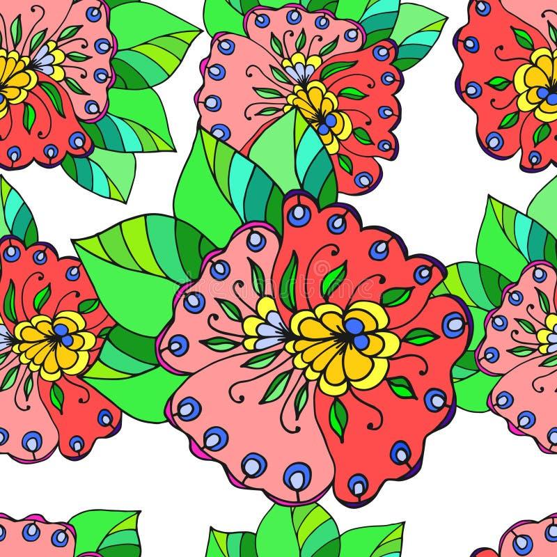 Abstracte geometrische achtergrond, naadloze bloemen royalty-vrije illustratie