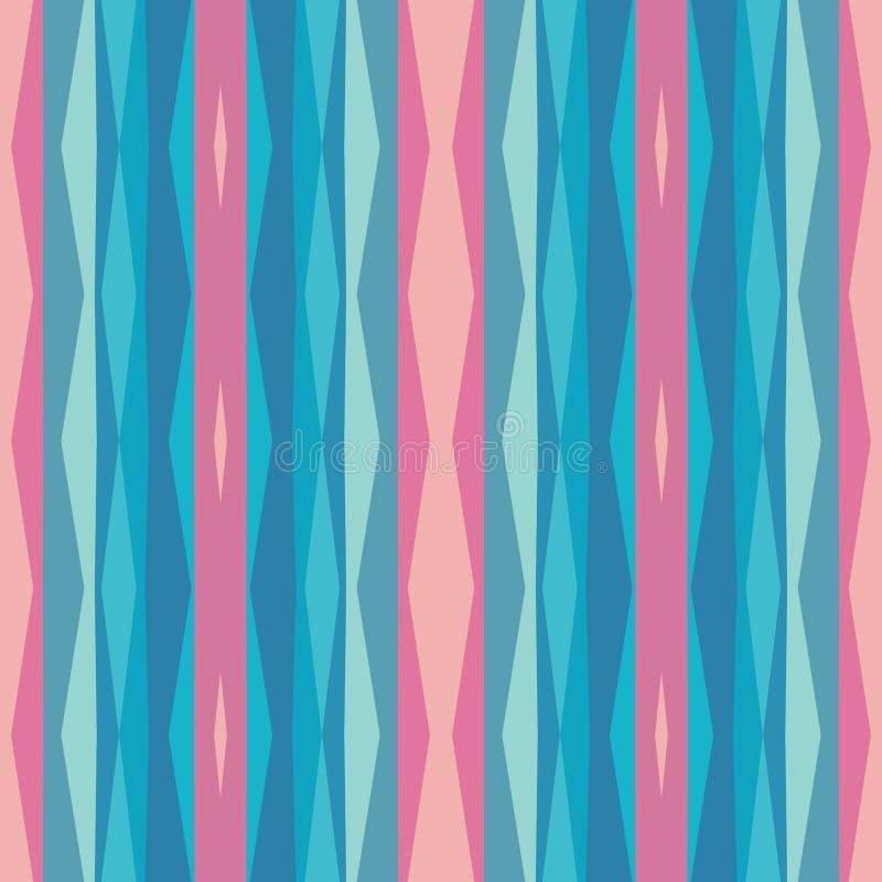 Abstracte geometrische achtergrond in roze en blauwgroene kleuren Naadloos vectorpatroon stock illustratie