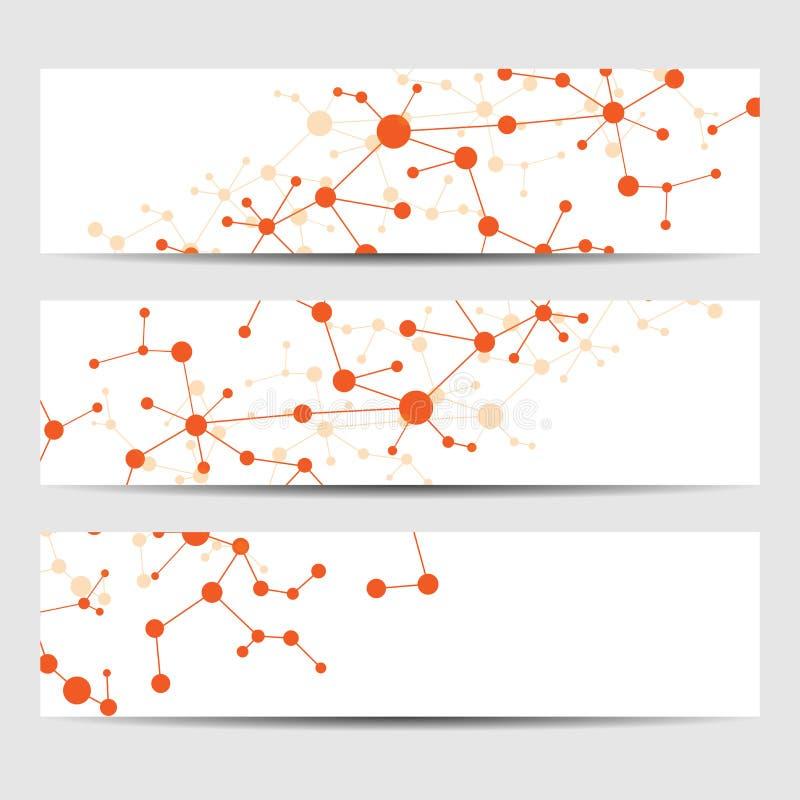 Abstracte geometrische bannersmolecule en mededeling Wetenschap en technologieontwerp, structuurdna, medische chemie, vector illustratie