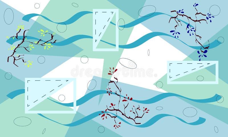 Abstracte geometrische bloemenachtergrond, druk voor textiel In Grafisch Ontwerp voor banner, kaartdekking, uitnodiging royalty-vrije illustratie