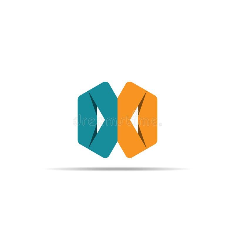 Abstracte geometrische brief X embleemmalplaatje met hexagonaal elementenvoorwerp oneindig van het de vormpictogram van de kubusd stock illustratie